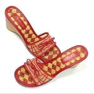 BCBG Maxazria Red Straw Wedge Sandals EUC
